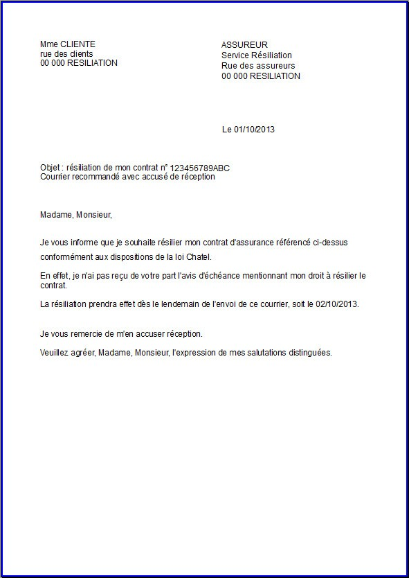 model de lettre resiliation assurance