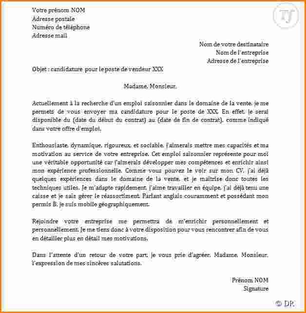 model lettre attestation