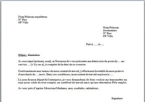 model lettre de demission pdf