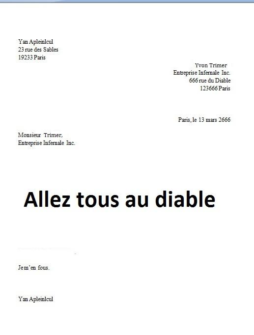 model lettre demission