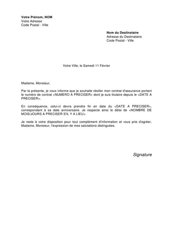 model lettre resiliation contrat assurance