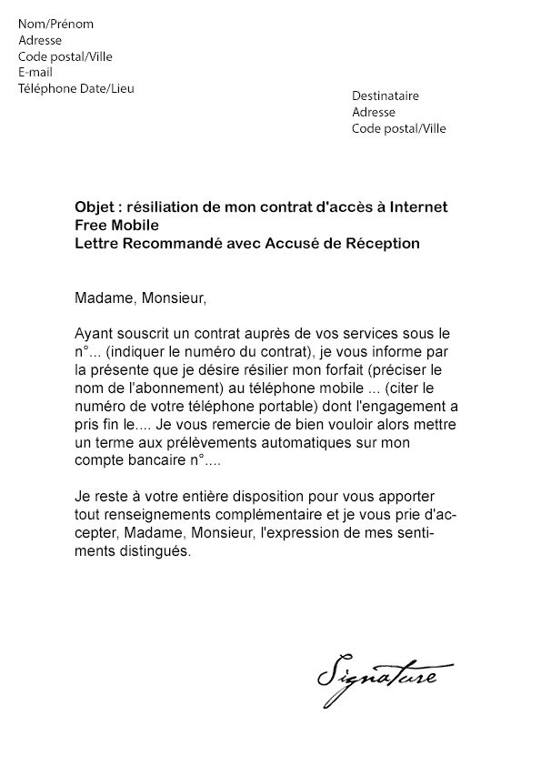 model lettre resiliation telephone