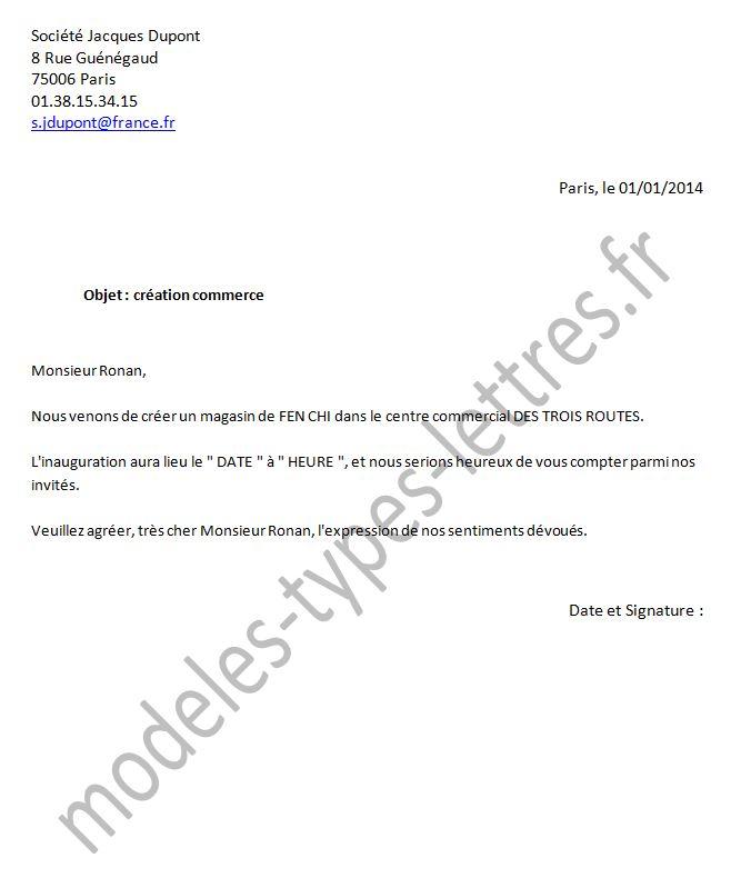 model type lettre