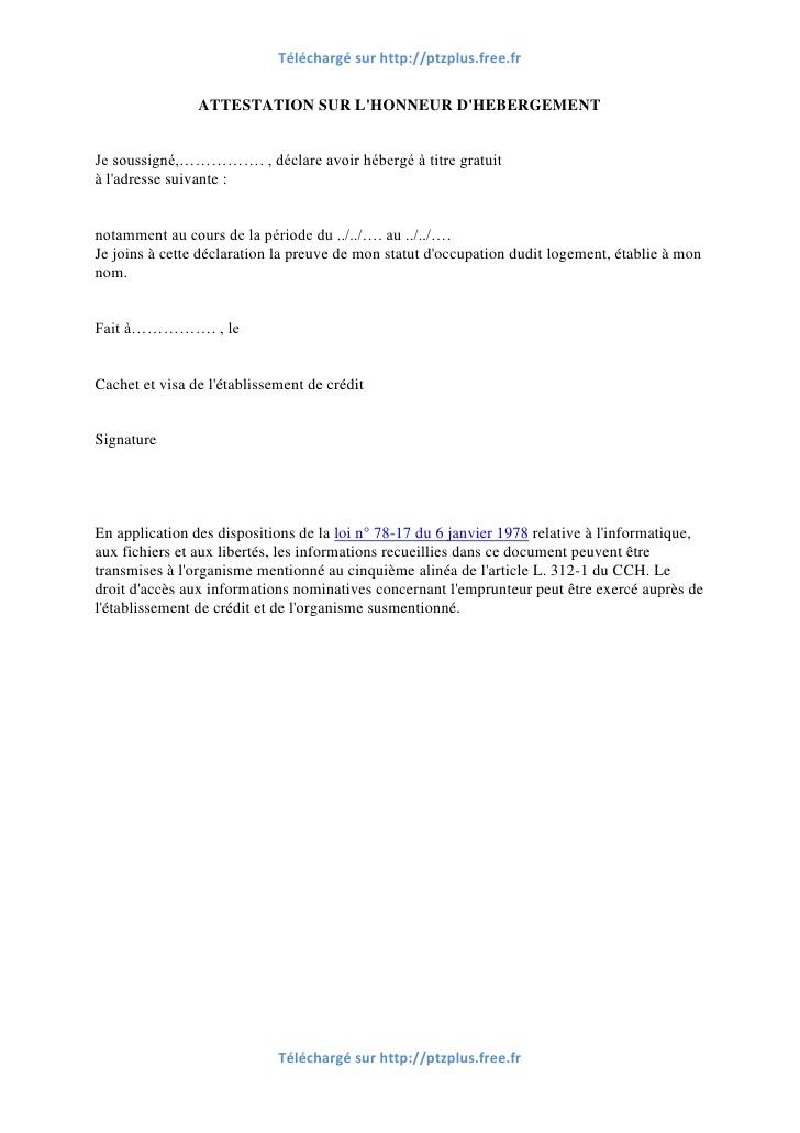 modele attestation sur l u0026 39 honneur hebergement a titre