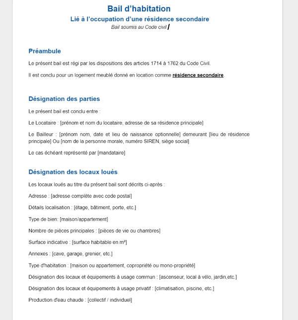 modele contrat de location format word