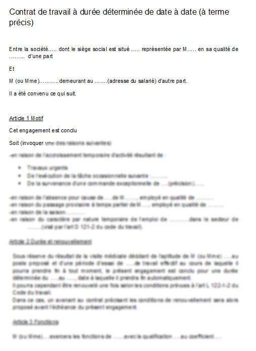 modele contrat de travail cdd word
