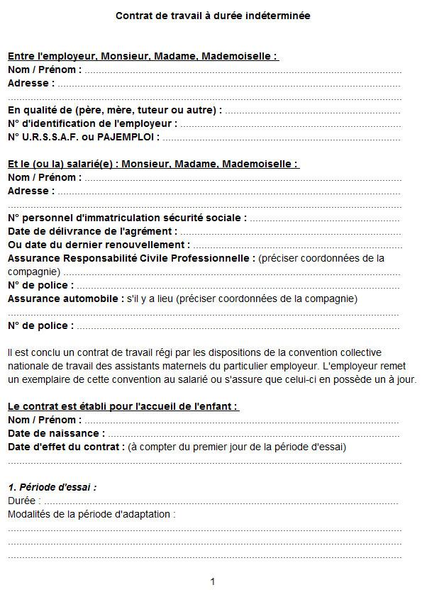 modele contrat travail assistance maternelle gratuit - Modele de lettre type