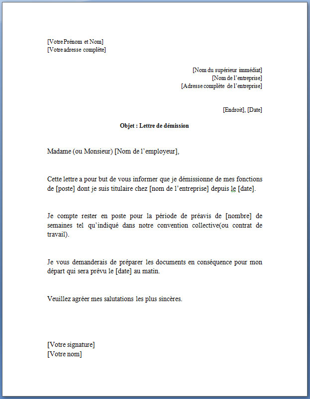 modele courrier demission cdi