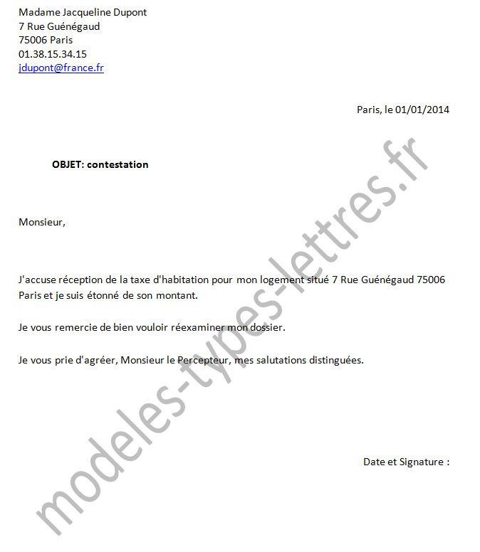 modele courrier exoneration taxe fonciere
