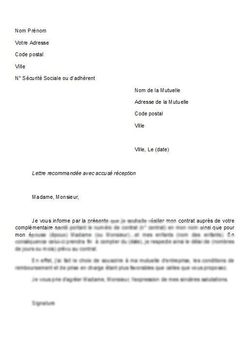 modele courrier resiliation contrat assurance - Modele de lettre type