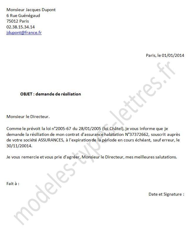 modele courrier resiliation contrat