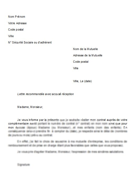modele courrier resiliation mutuelle