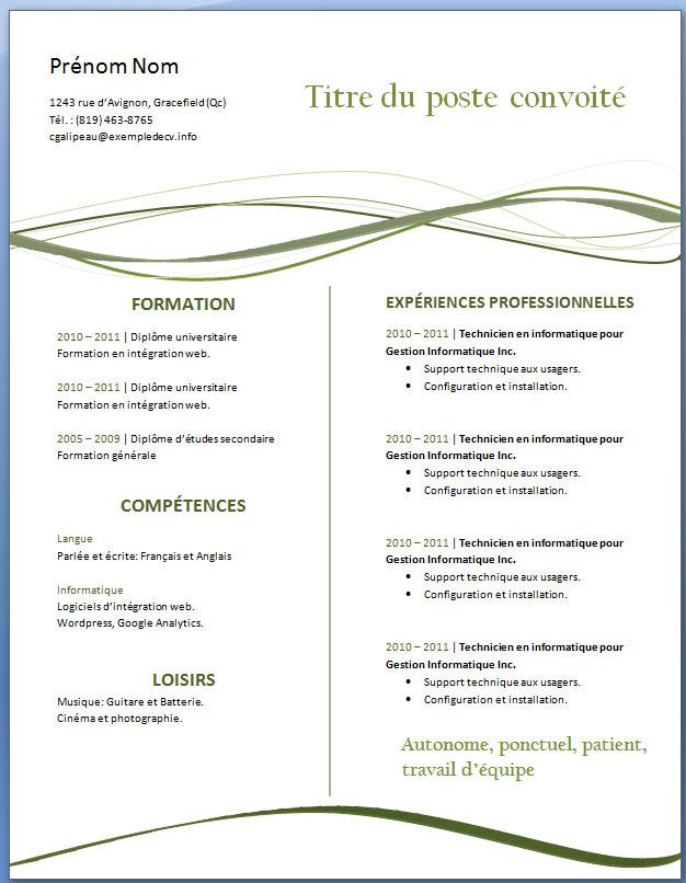 modele cv gratuit a telecharger pdf