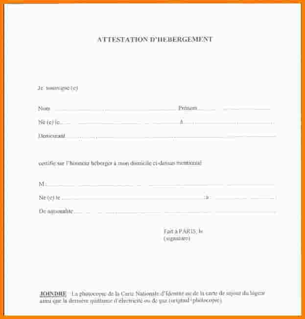 modele d'attestation d'hebergement gratuit - Modele de lettre type