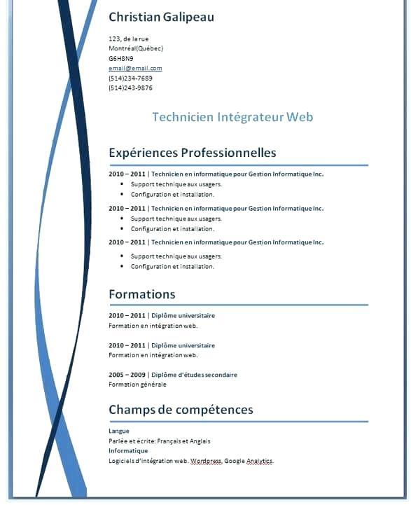 modele de cv word 2010