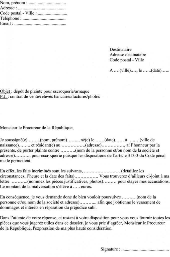 modele de lettre au procureur gratuit - Modele de lettre type