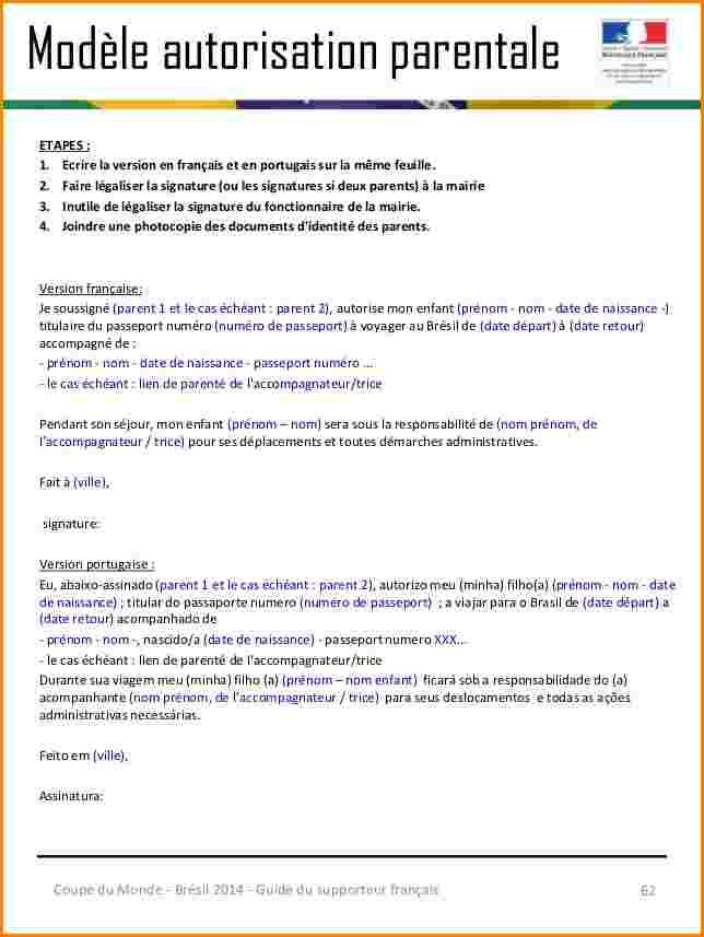 modele de lettre autorisation parentale
