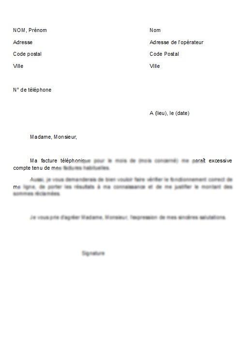 modele de lettre contestation facture