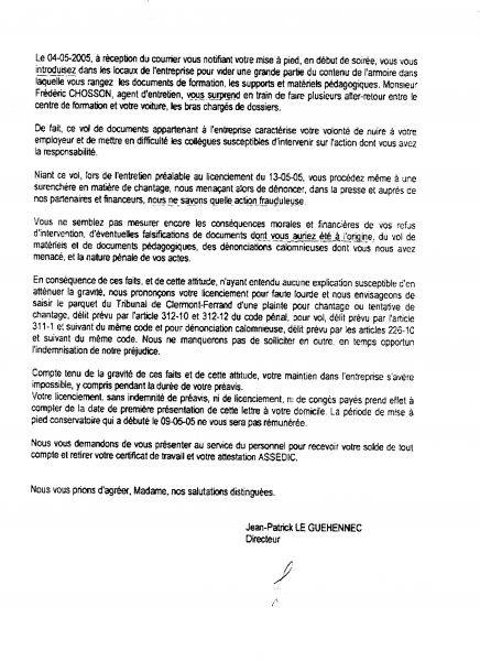 modele de lettre de contestation de licenciement pour faute grave