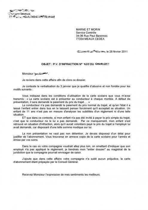 modele de lettre de contestation de pv