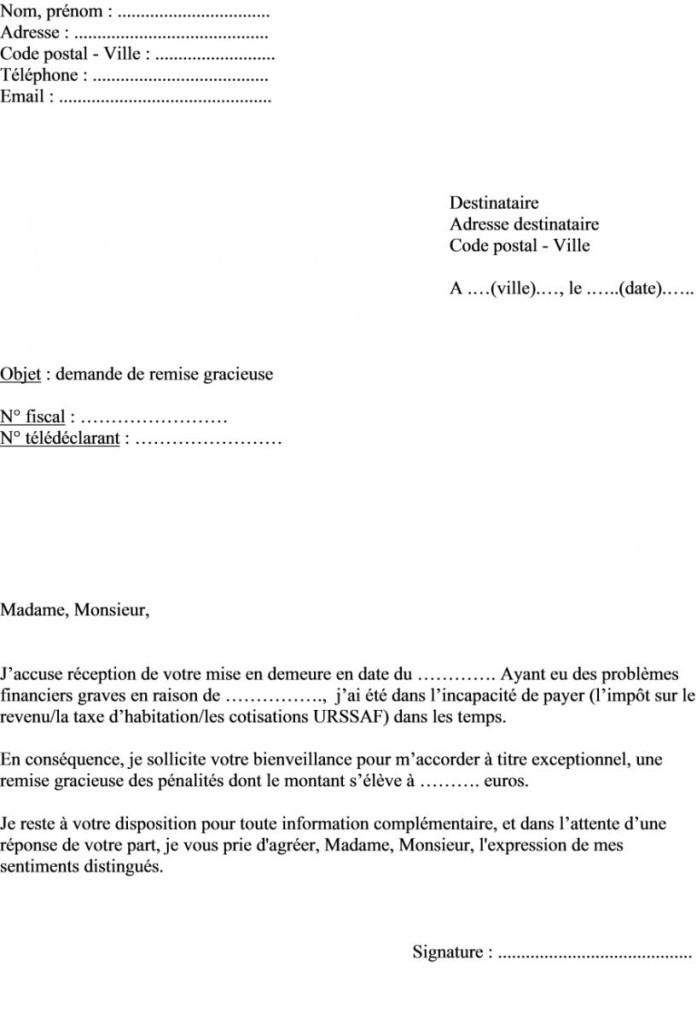 modele de lettre de degrevement taxe fonciere gratuit