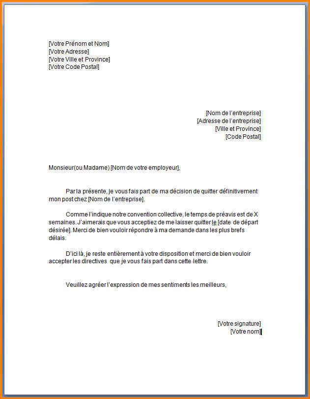 modele de lettre de demande d'emploi