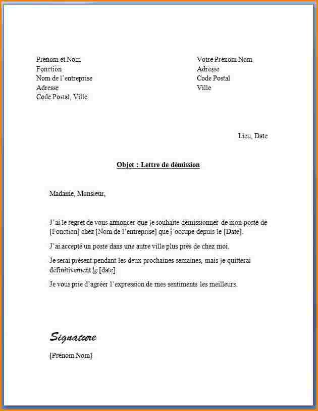 modele de lettre de demission d u0026 39 un lycee professionnel