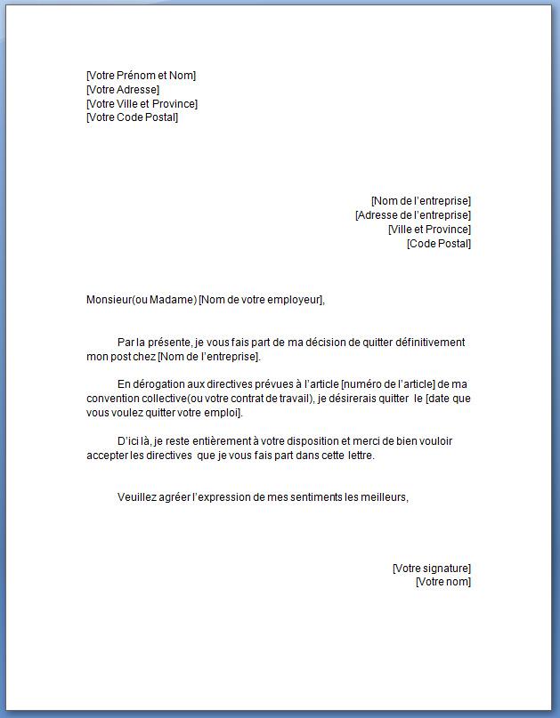 modele de lettre de demission gratuit