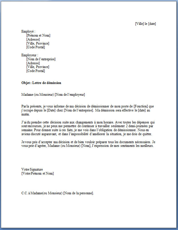 modele de lettre de demission gratuite cdi