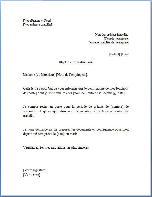 modele de lettre de demission