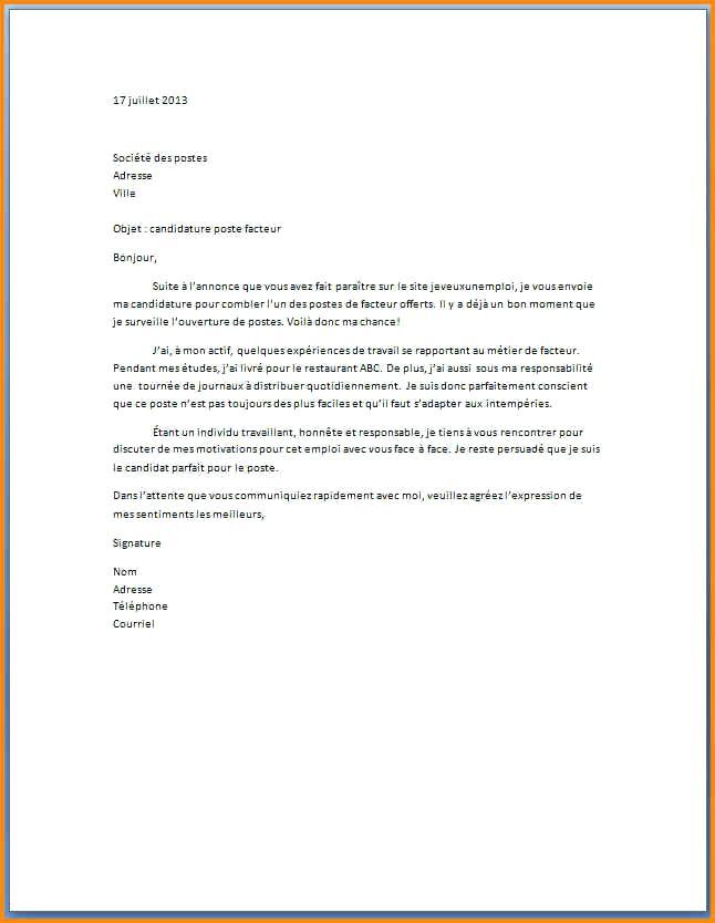 modele de lettre de motivation pour une candidature