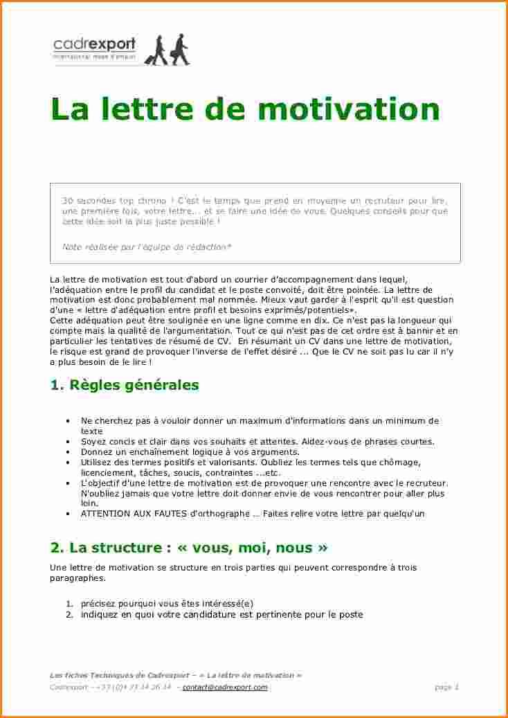 modele de lettre de motivation pour une candidature spontanee gratuite