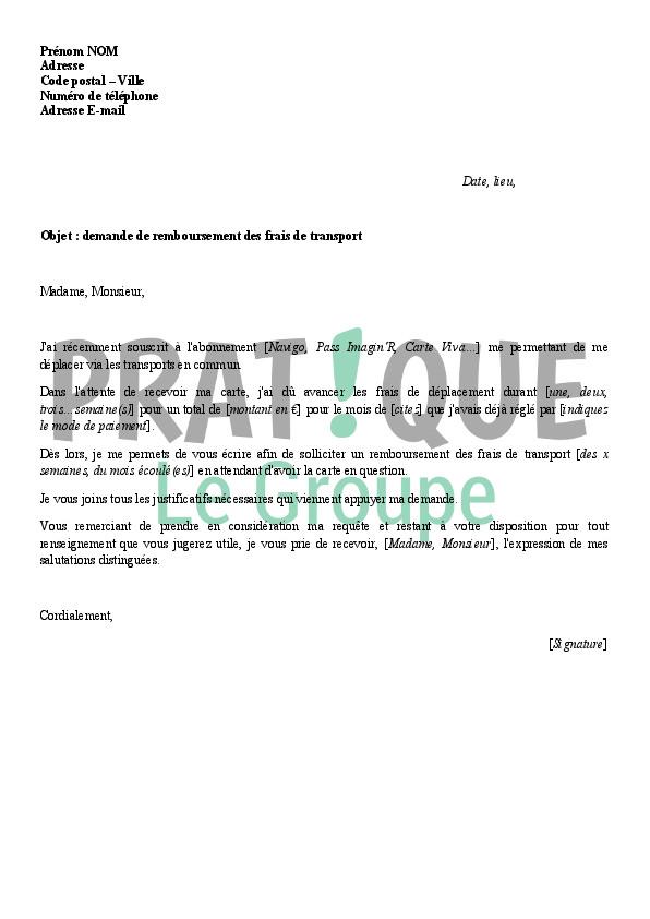 modele de lettre de remboursement de frais d'inscription