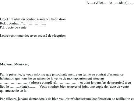 modele de lettre de resiliation assurance habitation