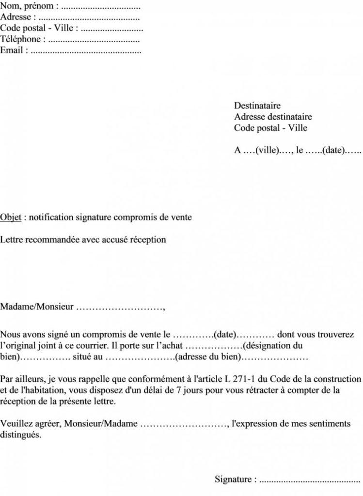 modele de lettre de retractation compromis de vente - Modele de lettre type