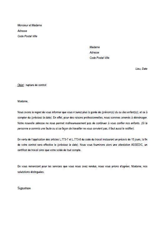 modele de lettre de rupture de contrat assistance