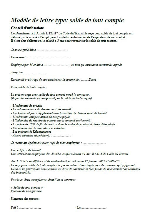 modele de lettre de rupture de contrat assistante maternelle