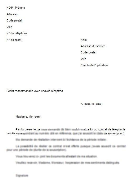 modele de lettre gratuit de resiliation de contrat
