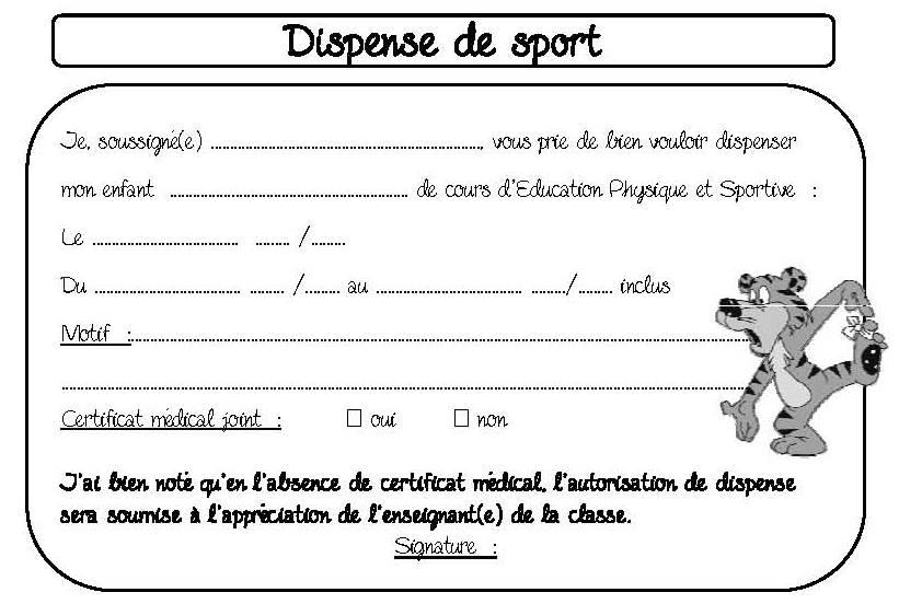 modele de lettre pour dispense de sport