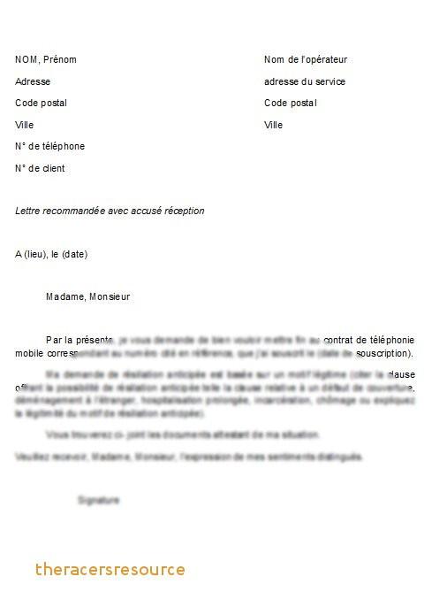modele de lettre resiliation contrat