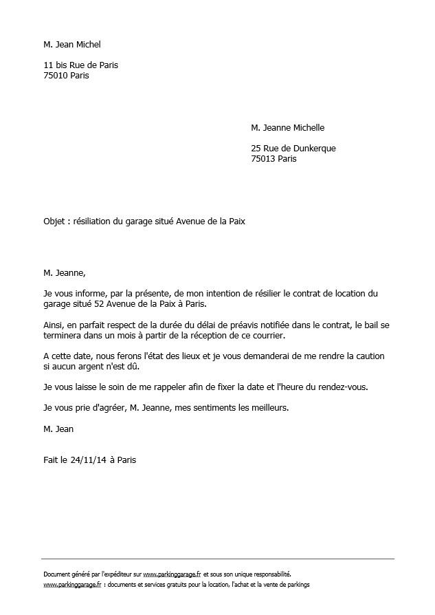 modele de resiliation de bail - Modele de lettre type
