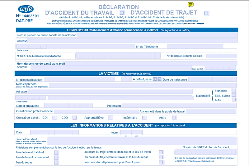 modele declaration accident travail