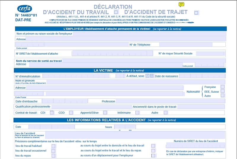 modele declaration accident