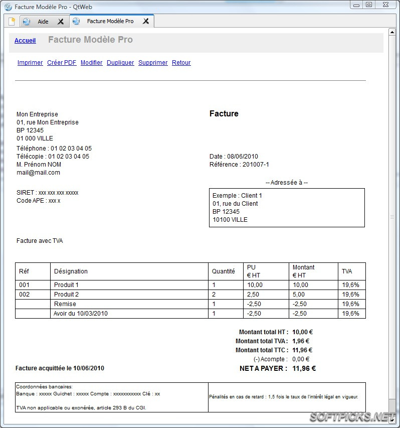 modele facture de loyer gratuit - Modele de lettre type