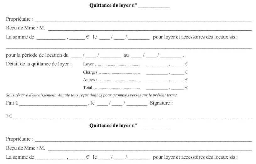modele gratuit de quittance de loyer - Modele de lettre type