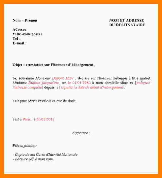 modele lettre attestation domicile