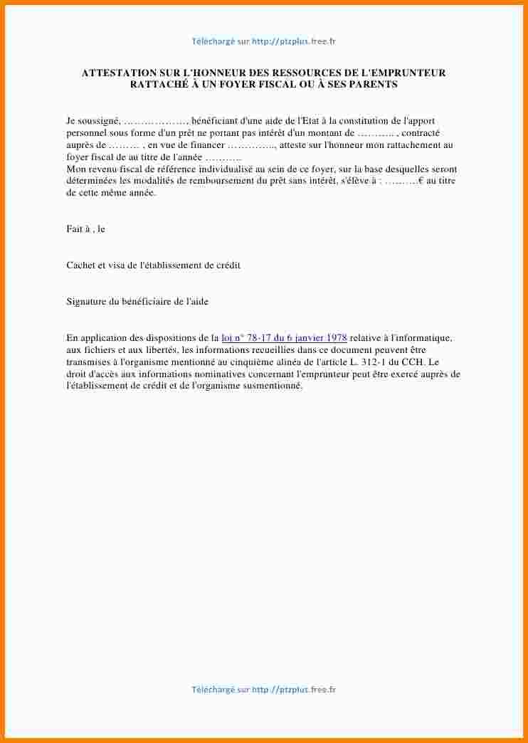modele lettre attestation hebergement parent