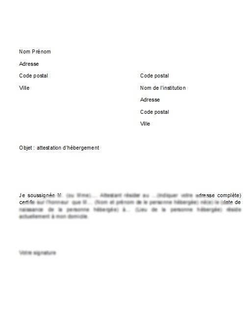 modele lettre attestation hebergement
