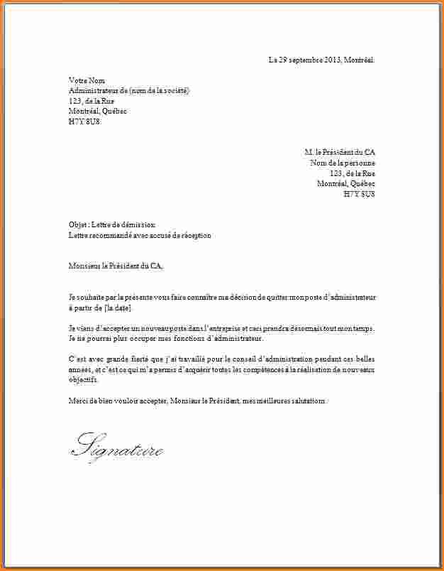 modele lettre avec accuse de reception