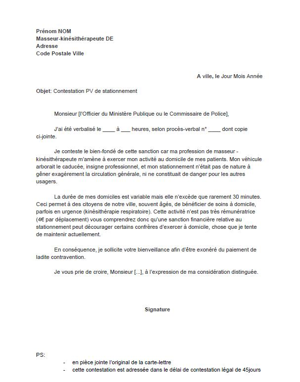 modele lettre contestation pv stationnement